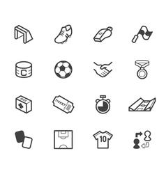 soccer black icon set on white background vector image