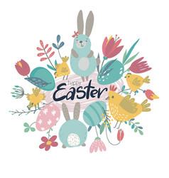 spring easter greeting card with cartoon vector image