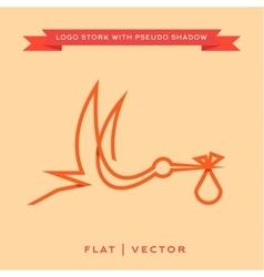 stork brings batrendy brand logo outline vector image