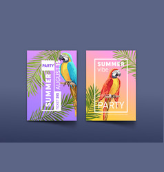 summer vibe party poster and ticket with parrot vector image