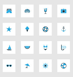 Sun colorful icons set collection of lifebuoy vector