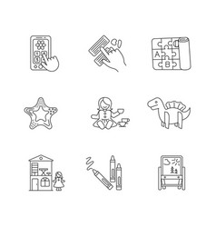 Toddler toys pixel perfect linear icons set vector