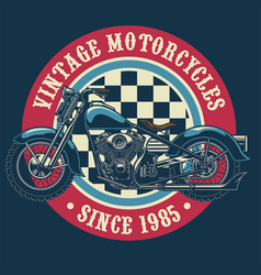 Vintage motorcycle badge design vector