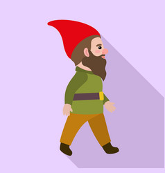 walking gnome icon flat style vector image
