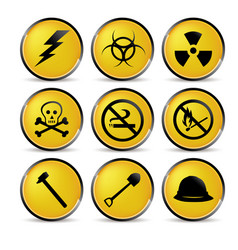 yellow security icons vector image