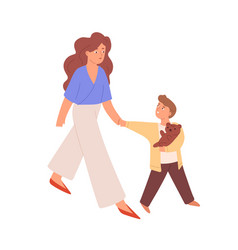 Young happy mother walking with son mom holding vector
