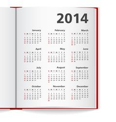 2014 Calendar in notebook vector image vector image
