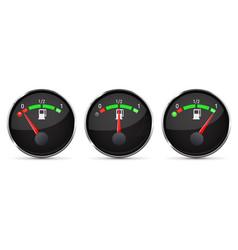 black fuel gauge empty half full level with vector image