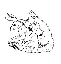 cartoon valentine couple wolf hugs with a hare vector image vector image