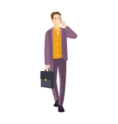 Man In Suit With Suitcase Speaking On The Phone vector image