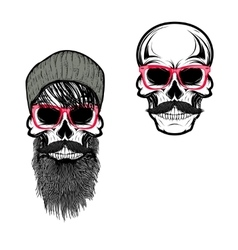 Set of hipster skulls in hat and sunglases vector image vector image