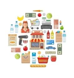Supermarket Round Composition vector image