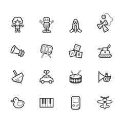 baby toys black icon set on white background vector image