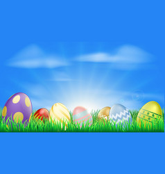 bright easter eggs background vector image