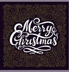 christmas design with calligraphic merry christmas vector image