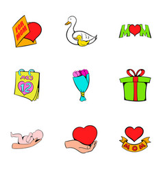 family day icons set cartoon style vector image