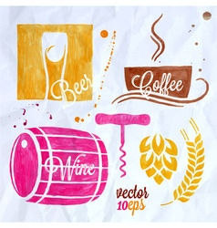 food and drink watercolor set beer wine coffee vector image vector image