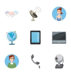 Online consultation icons set cartoon style vector