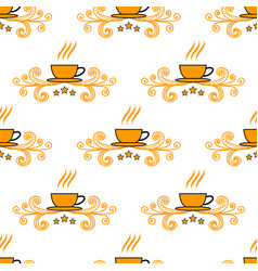 seamless pattern with hand drawn sketchy tea and vector image