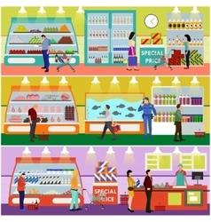 Supermarket interior flat vector image vector image