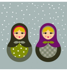 Winter babushkas vector