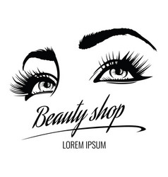 beauty salon poster with eyes eyelashes vector image vector image