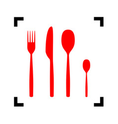 fork spoon and knife sign red icon inside vector image