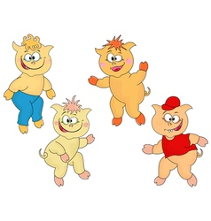 Four funny cartoon piglets vector image