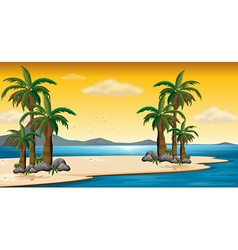 Scene with beach and ocean vector image vector image