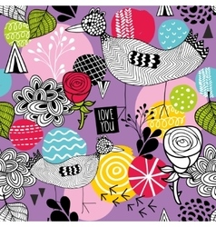 Seamless background with bright hand drawn vector image vector image