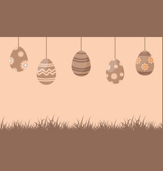 silhouette of easter egg on brown background vector image