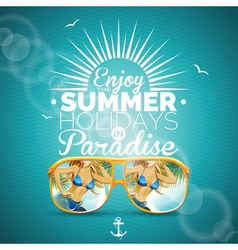 Summer with sexy girl and sunglasses vector image