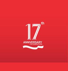 17 anniversary logotype flat design white color vector