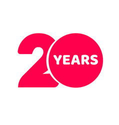 20 years anniversary logo template isolated red vector image