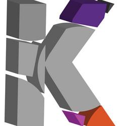 3d font letter k vector image