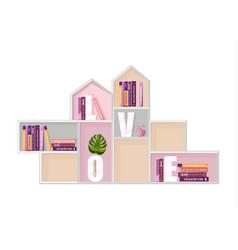abstract shelf books decor modern design vector image