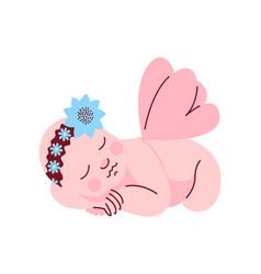 adorable newborn baby girl dressed in flower vector image