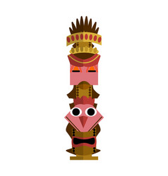African totem pole with bird and human face vector