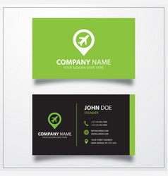 Airport with pin icon business card template vector
