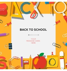 Back to school season sale template with schools vector image