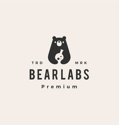 bear labs laboratory hipster vintage logo icon vector image