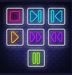 big collection neon music symbols neon symbols vector image