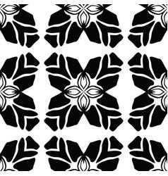 black on white leaf quilt pattern vector image