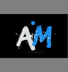 blue white alphabet letter combination am a m vector image