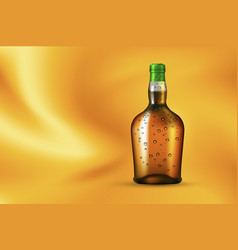 bottle with dew on gold background vector image