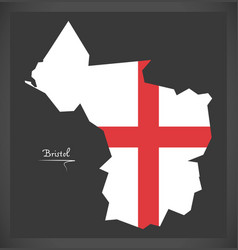 bristol city map with english national flag vector image
