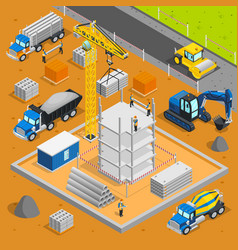 Building area isometric composition vector