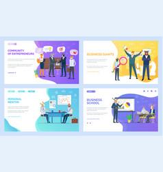 Business school and personal mentor websites set vector