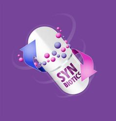 capsule with content antibiotic or probiotic vector image