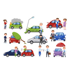 Car crash and accident set car insurance cartoon vector